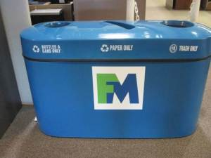 28 recycling bins were purchased and placed around campus in 2010.  In 2011 the campus recycled approximately 1,620 lbs. of materials.