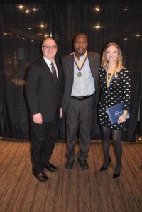 Photo submitted by Amy Radik From left to right, FM President Dustin Swanger and SUNY Chancellor's Award Recipients Taiwo Ekundayo and Winnie Blackwood.
